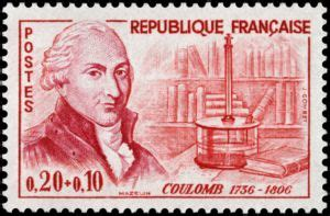 Stamp: Charles-Augustin de Coulomb (1736-1806) (France