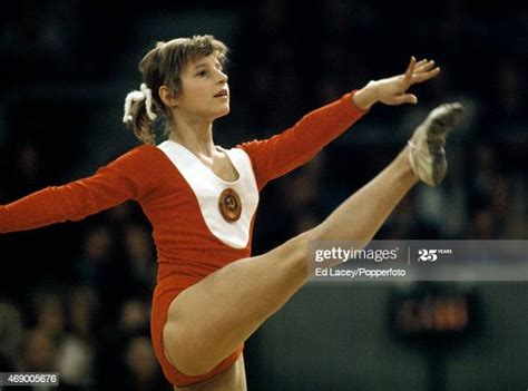 Gymnast Olga Korbut of the USSR in action at Earls Court