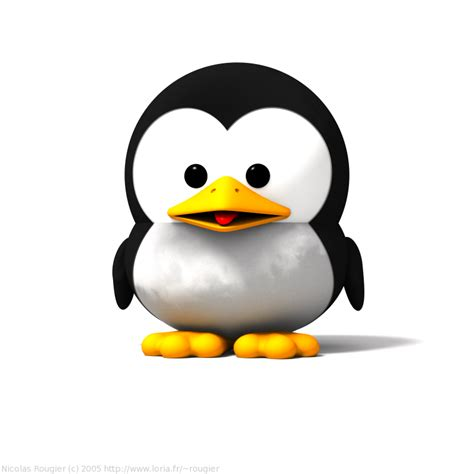 3D Baby GNU and Tux by Nicolas Rougier - GNU Project