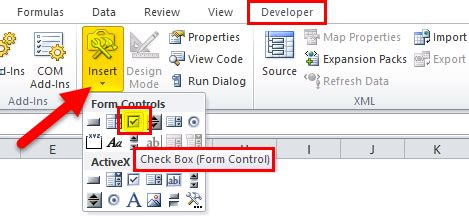 CheckBox in Excel (Examples) | How to Create CheckBox in