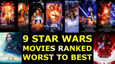 9 Star Wars Movies Ranked Worst to Best - YouTube