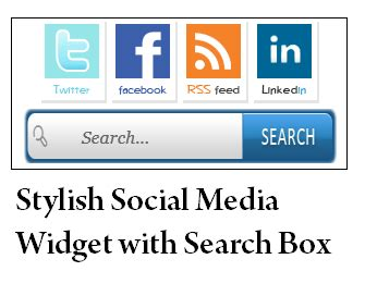 Stylish Social Media Widget with Search Box   Blogger Tips